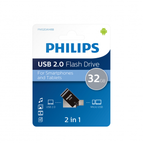 Philips USB flash drive 2-in-1, 32GB, USB 2.0 - micro-USB